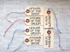 Small Wedding Thank You Tag for Mother of the Bride Groom, Father, Grandparents / Unique Hand-Stamped Modern Art Deco Font Manila Hang Tag