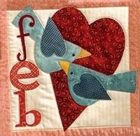 February block, Count On It Bom, Nancy Halvorsen pattern. I like the birds with the heart.