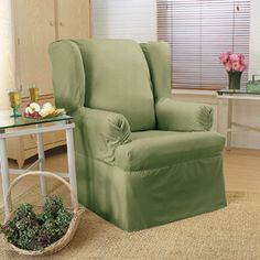 Dress up a wing chair with this machine-washable cotton slipcover, offered in a choice of versatile solid colors. The wrinkle-resistant slipcover drapes easily over your wing chair, reviving and protecting it. Furniture Slipcovers, Slipcovers For Chairs, Furniture Covers, New Furniture, Recliner Cover, Recliner Slipcover, Home Decor Shops, At Home Gym, Cozy House