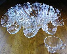 Vintage Hazel Atlas Colonial Shell Swirl Clear Glass Punch Bowl + 12 Cup Set-EUC