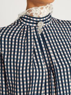 Neffs gingham-twill and lace blouse | Preen By Thornton Bregazzi | MATCHESFASHION.COM UK