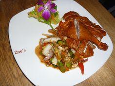 Ente gegrillt mit pikant süß-saurer Sauce und Gemüse