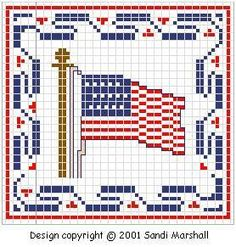 Cross Stitch Chart 1776 U.S. flag