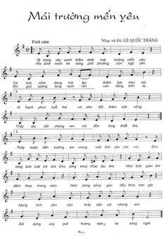 Sheet nhạc bài Mái trường mến yêu - Hợp Âm Việt Guitar Fretboard Chart, Piano Sheet, Sheet Music, Music Notes, Pho, Singing, Lyrics, Ukulele, Songs