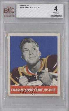Charlie Justice RC (Rookie Card) BVG GRADED 4 (Football Card) 1948 Leaf #15 by Leaf. $50.00. 1948 Leaf #15 - Charlie Justice RC (Rookie Card) BVG GRADED 4