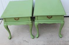 Shabby Chic French Green Vintage Side End Table by PetitFarmhouse, $165.00