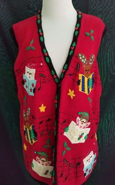 Darling Christmas Sweater Vest XL Beaded Embroidered Santa Rudolph Elf Singing #BobbieBrooks