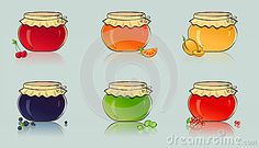 Vector set of jars with berry and fruit jam.