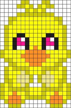 Chica Plushie Perler Bead Pattern / Bead Sprite - Sprite - Ideas of Sprite Kandi Patterns, Pearler Bead Patterns, Perler Patterns, Beading Patterns, Pixel Art Templates, Perler Bead Templates, Pearl Beads Pattern, Pixel Art Grid, Pixel Crochet