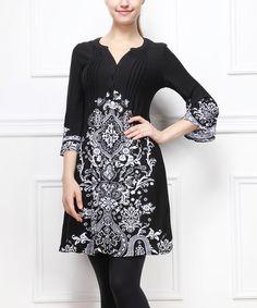 Another great find on #zulily! Black & White Arabesque Notch Neck Dress by Reborn Collection #zulilyfinds