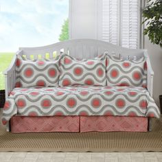 dress up your room with this stunning marlowe daybed comforter set in a pink and grey