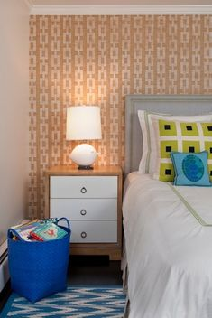 Madeline Weinrib Blue Ditto Cotton Carpet, B5 nightstand and fun chain PJ paper on walls.