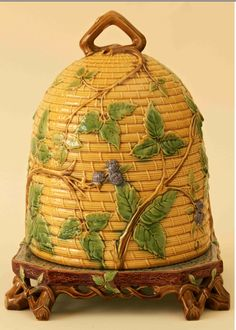 Minton Majolica Bee Keep Cheese Dome and Stand. Majolica International Society image from the Karmason Library.