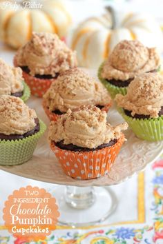 Two Ingredient Chocolate Pumpkin Cupcakes by Picky Palate.