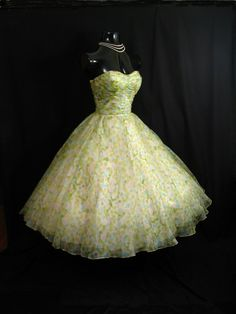 Vintage 1950's 50s Strapless Pastel Watercolor Print Ruched SILK Chiffon Organza Party Prom Wedding Dress. $349.99, via Etsy.