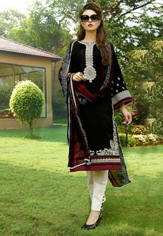 Black Poly Cotton Kameez with Straight Pant