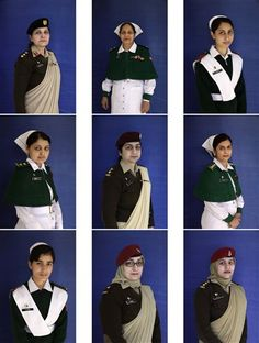 COMBO - In this combination of nine photos shows Pakistani army officers and cadets at The Combined Military Hospital Rawalpindi, on International Women's Day, in Rawalpindi, Pakistan, Friday, March 8, 2013. (The Combined Military Hospital Rawalpindi is a surgical hospital headed by Pakistan's Army Medical Corps, which performs dozens of surgeries daily. (AP Photo/Muhammed Muheisen)