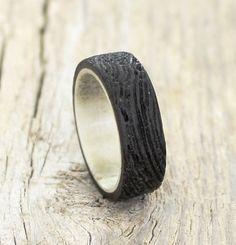 Antler Ring Men Ring Black Wood Ring Wenge Wood Ring by RingsDepot