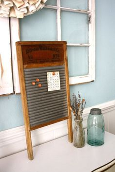 Vintage Washboard Industrial Farmhouse Magnetic Display