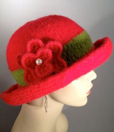 Bright Red Brim Hat by yoursbydesign on Etsy