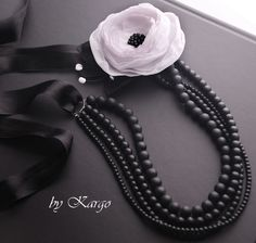fabric flower black beads necklace