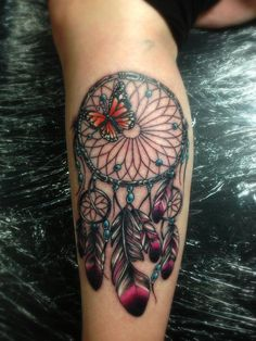Tattoo by Mark Stewart of Four Aces Tattoo in Aldinga Beach, South Australia. Dreamcatcher with monarch butterfly done on the arm. Thanks for looking. Instagram: @markstew_art