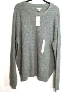 Sonoma XXL Gray Chunky Waffle Crewneck Sweater Elbow Patches Long Sleeved Warm #Sonoma #Crewneck