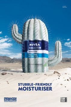 The Print Ad titled NIVEA FOR MEN: Cactus was done by DraftFCB London advertising agency for product: Nivea For Men (brand: Nivea) in United Kingdom. Clever Advertising, Advertising Poster, Advertising Campaign, Advertising Design, Street Marketing, Guerilla Marketing, Ads Creative, Creative Posters, Photoshop