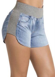 Shorts Jeans Sawary Azul e Cinza Boyfriend - Compre em até 5X sem juros na loja Multimarcas , veja nossas condições para Frete Grátis.
