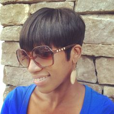 Bowl cut short hair style on relaxed hair