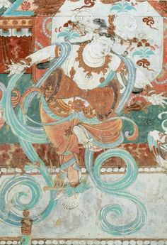 Wind Spirit Deity (dancer) Feitian, flying spirits of the air, Mogao Cave 286, Dunhuang. Western Wei dynasty (534–57). Image courtesy of the Dunhuang Foundation. =
