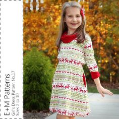 Make your own cozy and warm dress for your little girl with this digital pdf sewing pattern.  This pretty dress pattern is perfect for cooler weather