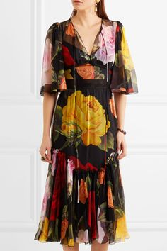 Dolce & Gabbana | Robe midi en mousseline de soie à imprimé fleuri | NET-A-PORTER.COM