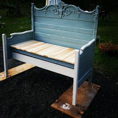 My bench I made from a headboard/footboard. Still have a few things left to do:-) #PaintedFurniture #Repurpose