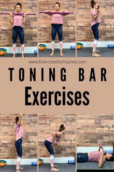 Best exercises to do with a toning bar for upper body strength. Yoga Fitness, Fitness Tips, Fitness Exercises, Body Workouts, Easy At Home Workouts, Daily Workouts, Knee Exercises, Bar Workout, Low Impact Workout