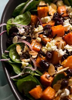 Close up of sweet potato salad with baby spinach, feta, almonds, red onion, wild rice drizzled with a Honey Lemon Dressing Salad With Sweet Potato, Potato Salad, Steak Salat, Cooking Wild Rice, Wild Rice Salad, Vegetarian Recipes, Healthy Recipes, Rice Salad Recipes, Potato Recipes