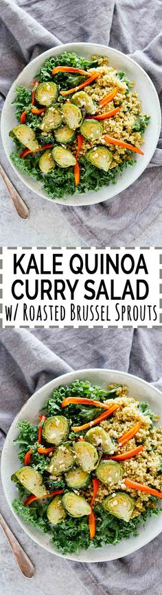 Kale Quinoa Curry Salad w/ Roasted Brussel Sprouts! Vegan, vegetarian, and gluten-free. The perfect warm and crunchy winter salad!