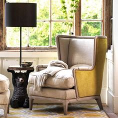Valentin Armchair With Yellow Velvet Sides - Armchairs - Seating - Sofas & Seating