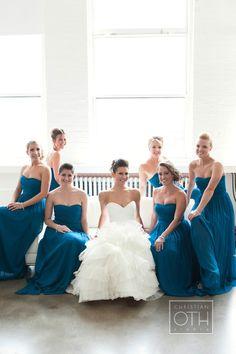 Peacock blue bridesmaid's dresses - Glen Allsop of Christian Oth Studio