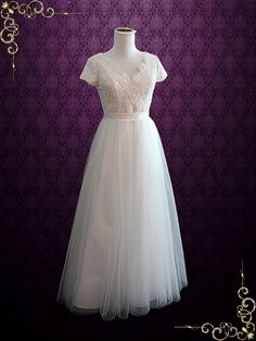 Whimsical Beach Lace Wedding Dress with Cap Sleeves Elissa