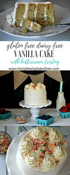 Moist and delicious gluten free and dairy free vanilla cake with vanilla buttercream frosting. This cake is simple to make with easy to find ingredients. It is the perfect base for any of your favorite recipes that call for vanilla cake. www.livingfreelyglutenfree.com
