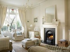 The sitting room in Marie & Alan McMillen's home in Belfast Das Wohnzimmer in Marie & Alan McMillens Haus in Belfast Living Room With Fireplace, My Living Room, Home And Living, Living Room Decor, Modern Living, Victorian Living Room, Belfast, Lounge Decor, Lounge Ideas