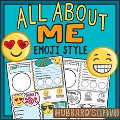 All About Me, Back to School Emoji's Activities Welcome students back to school with this fun and trendy activity using emojis.  This product has a template that the student fills in to tell about themselves.  This product also includes an emoji journal page that they will write a story using emoticons to express how they were feeling during an important event in their life.