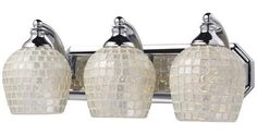 ELK Lighting 570-3C-Slv Three Light Vanity In Polished Chrome And Silver Mosaic Glass