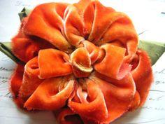 Tangerine Tango Flower Pin  Hand Dyed Velvet by ImpromptuMillinery