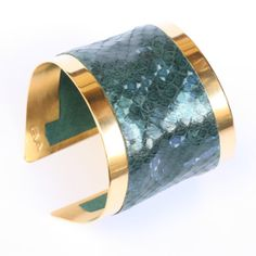 100 ecofriendly Leather ring cuff bracelet gold plated by evasugar, $129.00