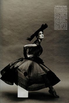 "Erin O'Connor in Christian Dior Fall 2005 Haute Couture for ""Diva Assolut"" by Koto Bolofo, Vogue Deutsch October 2005"