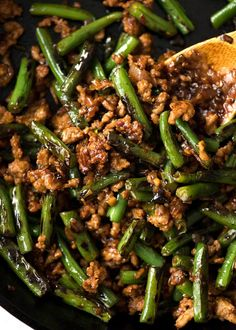 Pork Stir Fry with Green Beans is on the table in just over 10 minutes! Packs a big flavour punch, made for mixing through rice and eating with a spoon.