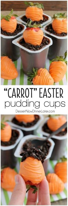 "Carrot Easter Pudding Cups - These fun pudding cups are perfect for Spring and Easter with an orange candy dipped strawberry ""carrot"" in crushed Oreo and chocolate pudding ""dirt."" on MyRecipeMagic.com"