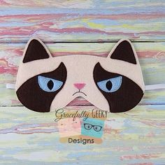Cat Sleep Mask Embroidery Design - 5x7 Hoop or Larger